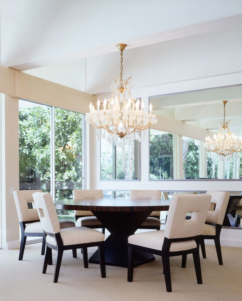 Expandable Round Dining Table Dining Room Contemporary With Beige Carpet  Beige Dining Chairs Chandelier Gold