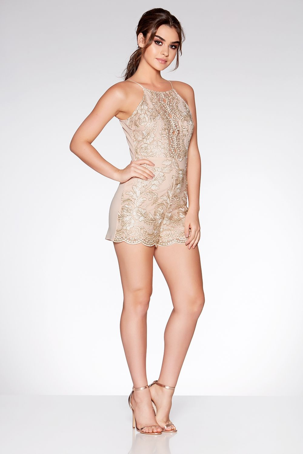 dd6b710613f Nude And Gold Embroidered Playsuit