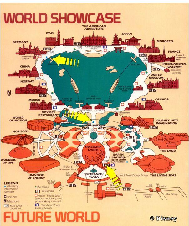 Vintage EPCOT map | Disney | Epcot world showcase map, Epcot center ...
