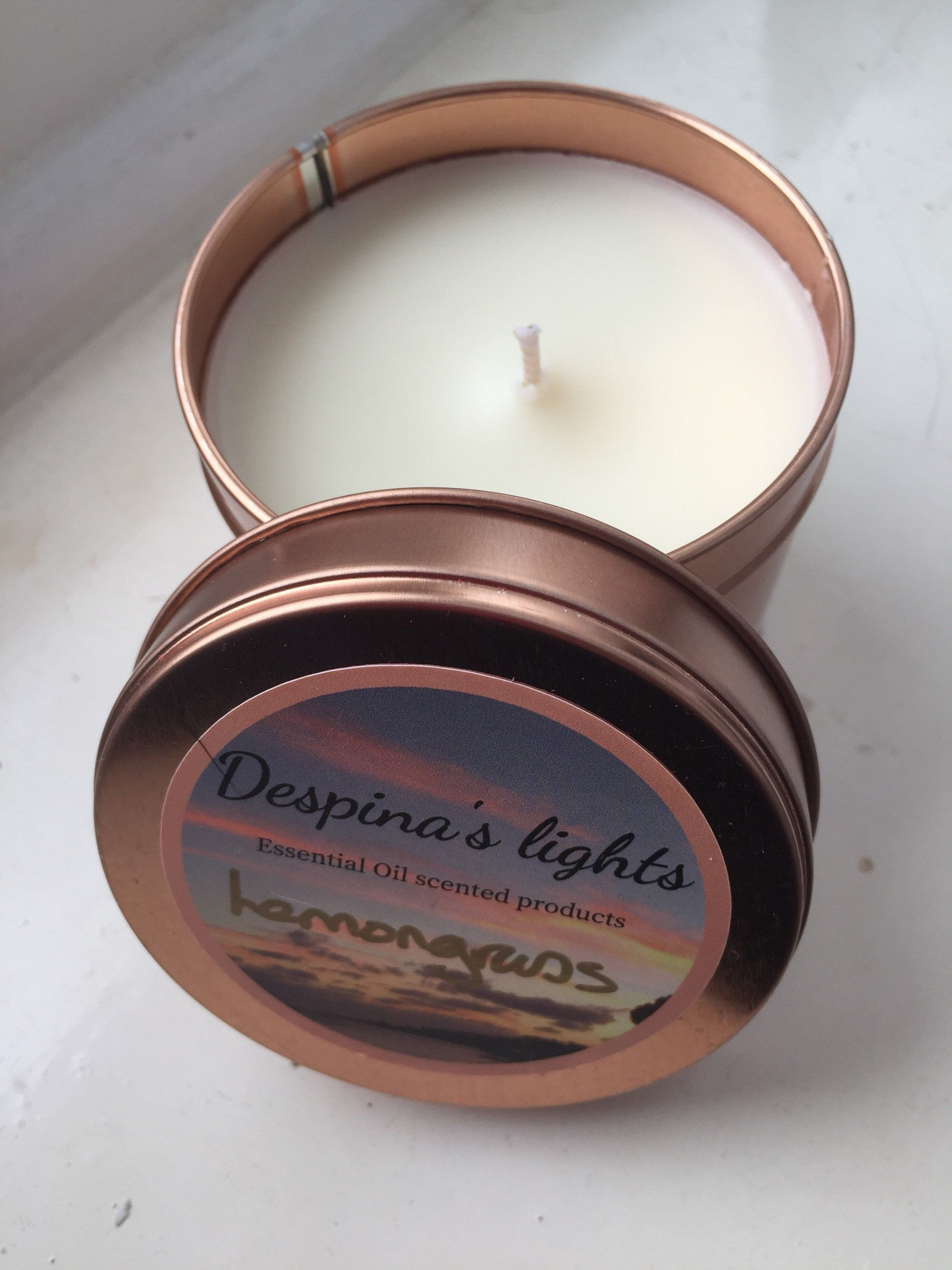 Lemongrass Essential Oil Scented Candles, 100 % Soy Wax Candles,