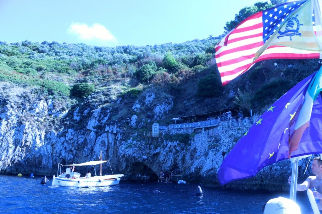 Driving the boat up to the Blue Grotto, Ischia
