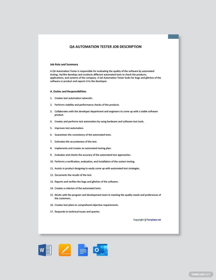 Qa Automation Tester Job Description Template Free Pdf Word Apple Pages Google Docs Job Description Template Job Description Tester