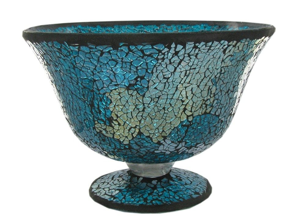 Large Turquoise Glass Mosaic Bowl  Accent pieces for in the living room.  Will add a pop of turquoise & a little sparkle