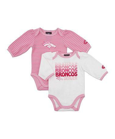 Take a look at this Pink Denver Broncos Long-Sleeve Bodysuit Set - Infant by 2d51d4b0c