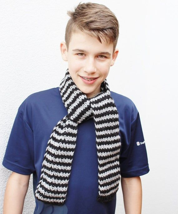 Photo of Boys Scarf – Black and Gray Scarf – Ready to ship – 10-15 yrs