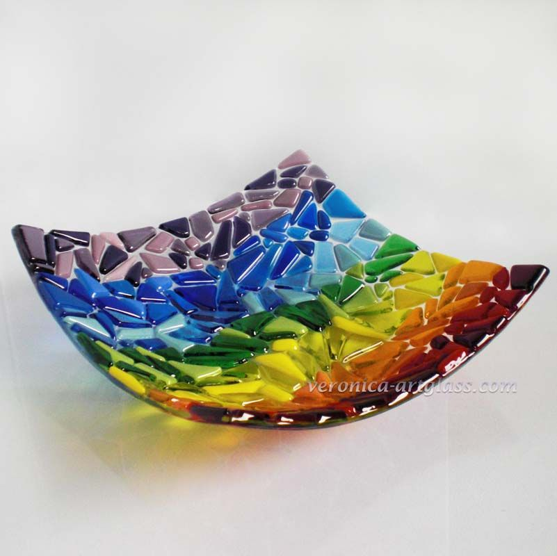 Fused glass jewelry art fused glass bowl rainbow fusing for Glass art projects