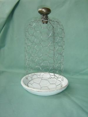 Chicken wire cloche and doorknob handle  | CLOCHE AND APOTHECARY