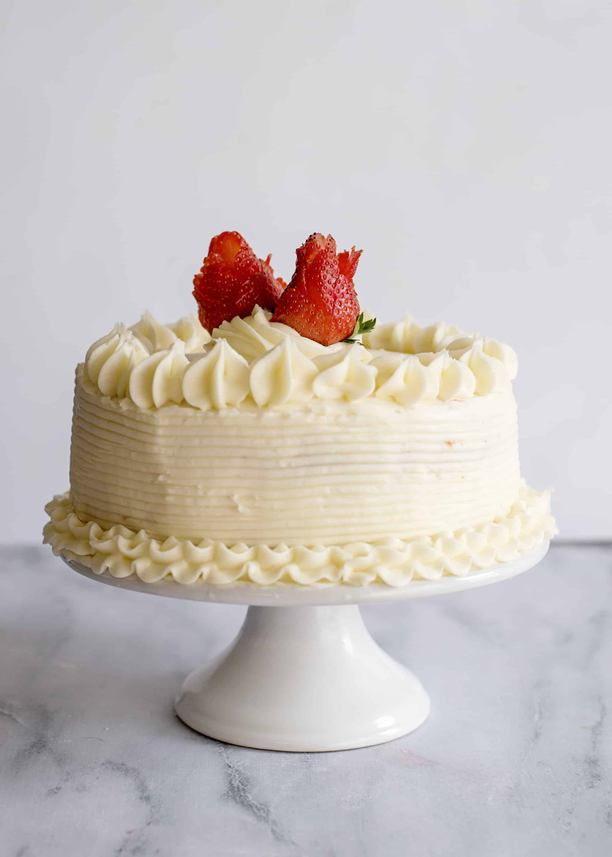 Fresh strawberry cake with cream cheese icing southern