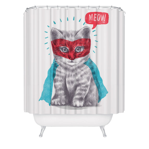 Cat Shower Curtain Cute Super Kitty Animal Made In USA