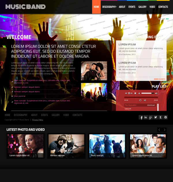 Online Music Band Twitter Bootstrap HTML Template by Dynamic Template