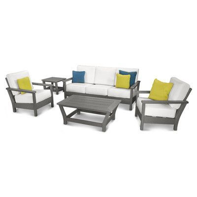 POLYWOOD Harbour 5 Piece Deep Seating Group with Cushion Color: Slate Grey / Natural