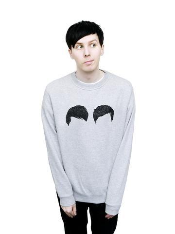 cbeeac54 Hair Sweater Dan And Phill, Grey Sweatshirt, Gray Sweater, Daniel James  Howell,