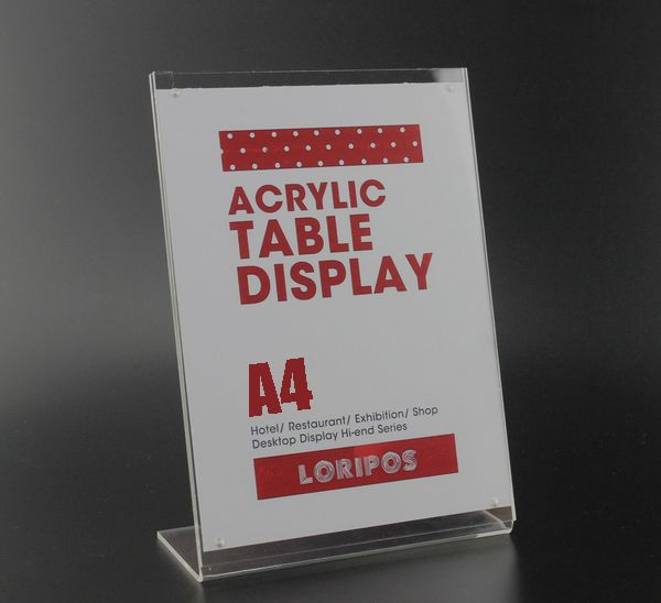 A4 L Poster Rack Magnetic Acrylic Table Desktop Menu Price Label Tag Frame Holder Stand Advertising Showing Stand Acrylic Table Display Cards Frame Stand