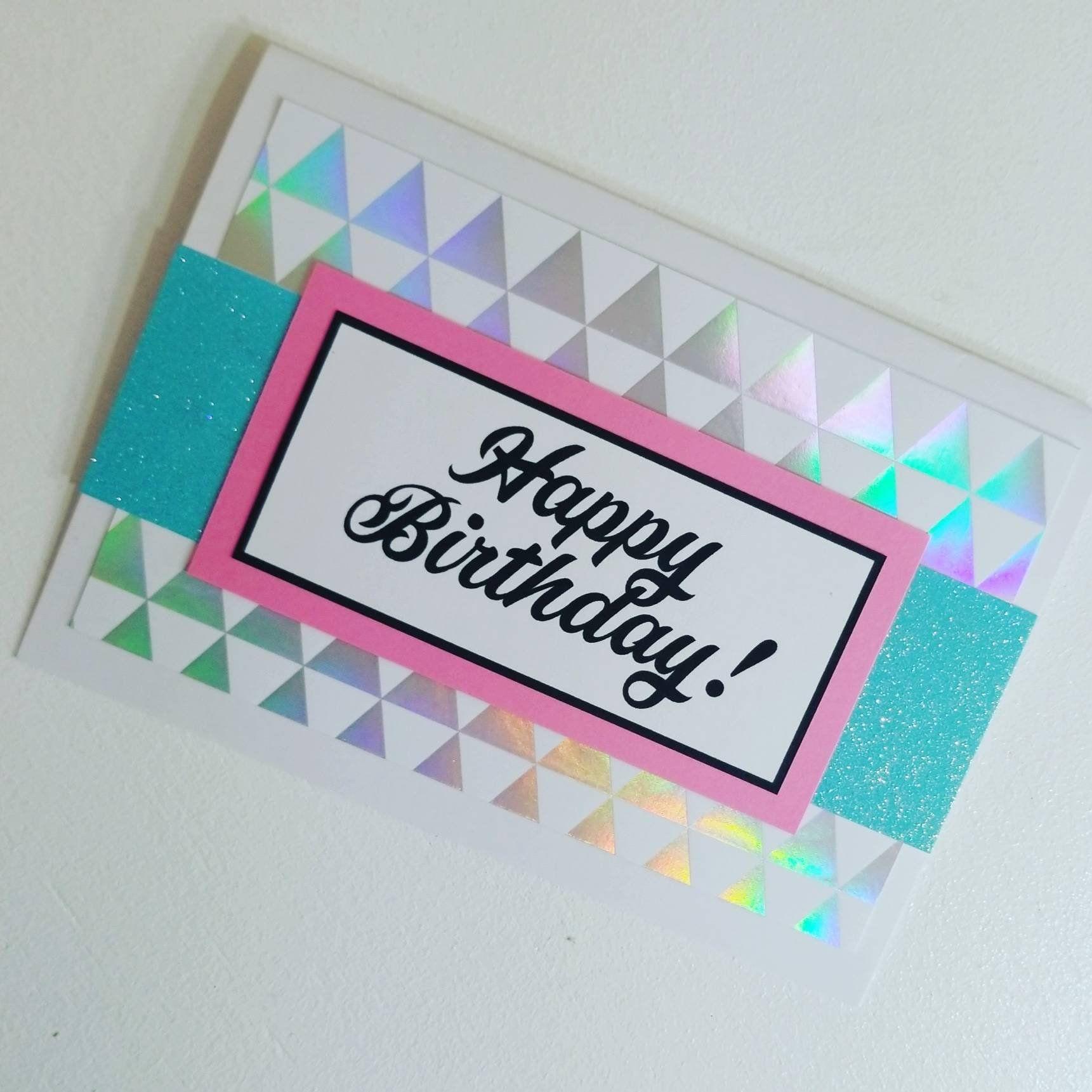 Happy Birthday Card, Silver, Handmade, Pink, Girlfriend, Friend, Best Friend