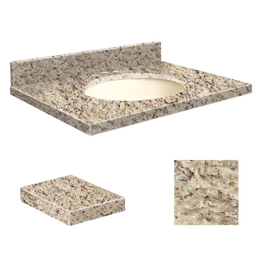 Transolid Giallo Ornamental Granite Undermount Single Sink Bathroom Vanity Top (Common: 25-in x 22-in; Actual: 25-in x 22.25-in)