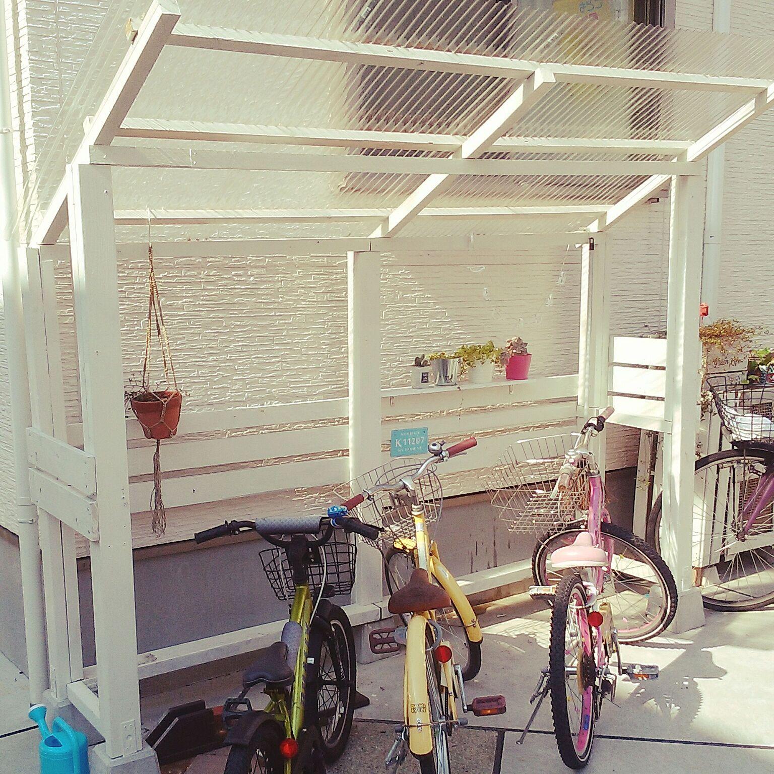 壁 天井 サイクルポートdiy 壁天井ではありません 自転車置き場 自転車