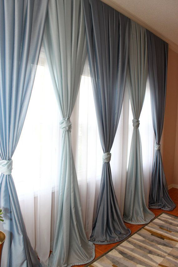 Free Shipping Inverted Pleated Voile Drapery Blue Window