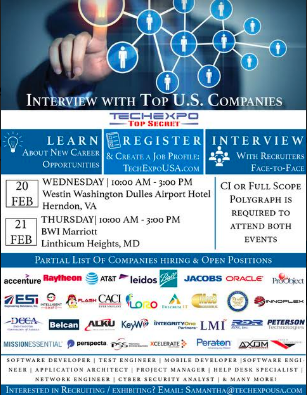 Techexpo Top Secret Is The Nation S Premiere Producer Of Professional Job Fairs Primarily For Those With Network Engineer Cyber Security Intelligence Careers