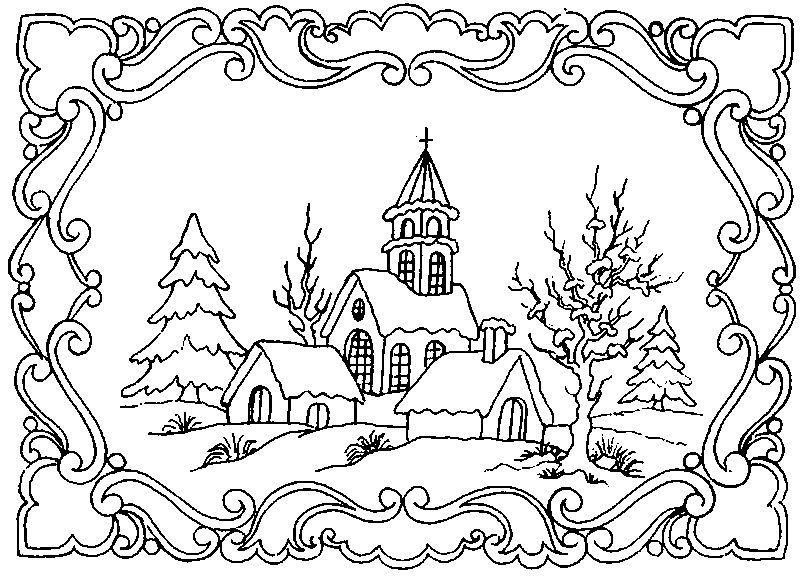 winter scene coloring pages for adults - Google Search | Christmas ...