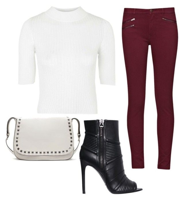 """""""White top and maroon jeans"""" by beautyfoolyou on Polyvore featuring French Connection, Topshop, Pierre Balmain, Zara, women's clothing, women's fashion, women, female, woman and misses"""