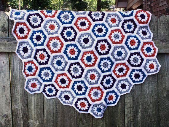 Multicolored Hexagon Crochet Blanket by stellarwhimsy on Etsy