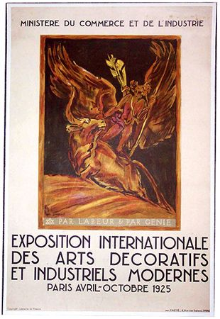 1925 Paris Exposition French Art Deco Poster By BOURDELLE The Rarest And