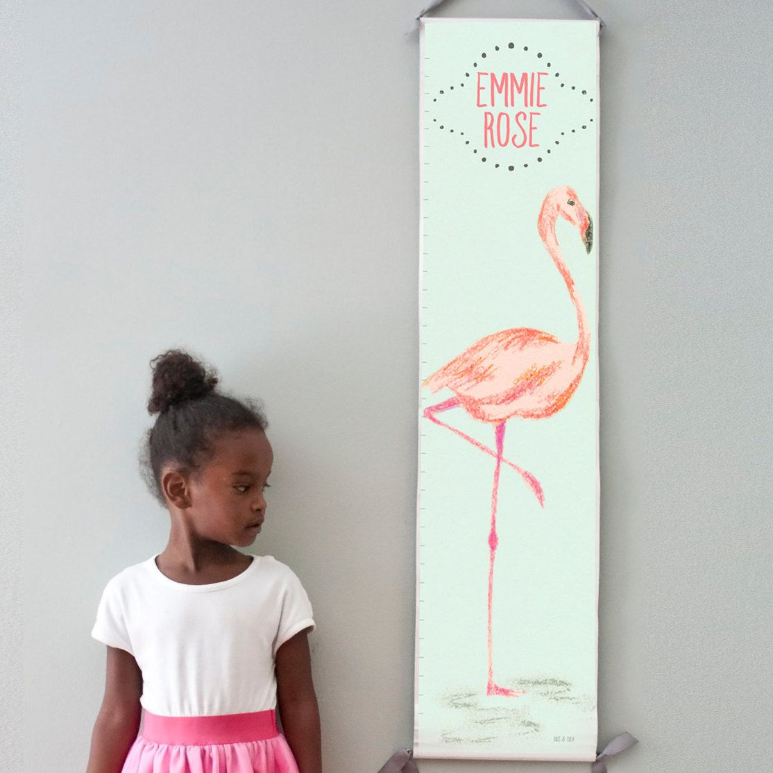 Custom personalized mint and pink flamingo canvas growth chart custom personalized mint and pink flamingo canvas growth chart perfect for baby girls nursery nvjuhfo Image collections