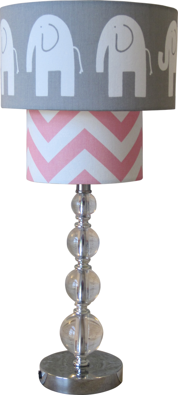 Lampshapes.com   Elephant Lamp Shade   Two Tier   White Elephant On Gray