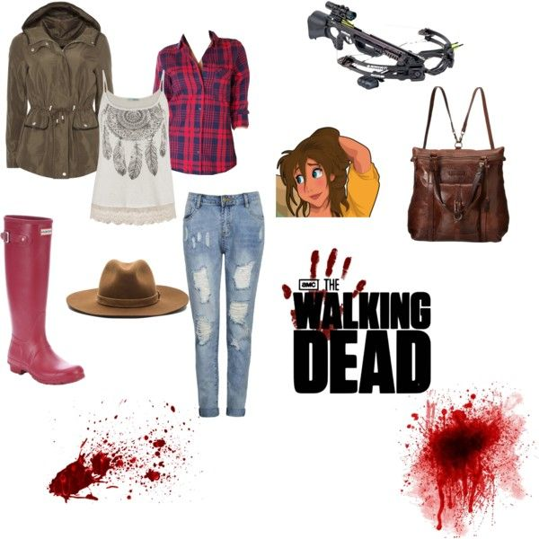 Jane Porter in The Walking Dead by emery7316 on Polyvore featuring Humble Chic, Dorothy Perkins, Hunter, Frye, rag & bone, Barnett and Disney