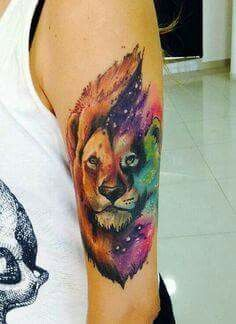 Galaxy Lion Tat I Want This But A Tiger Face Lion Tattoo Design Tattoos For Guys Tattoos