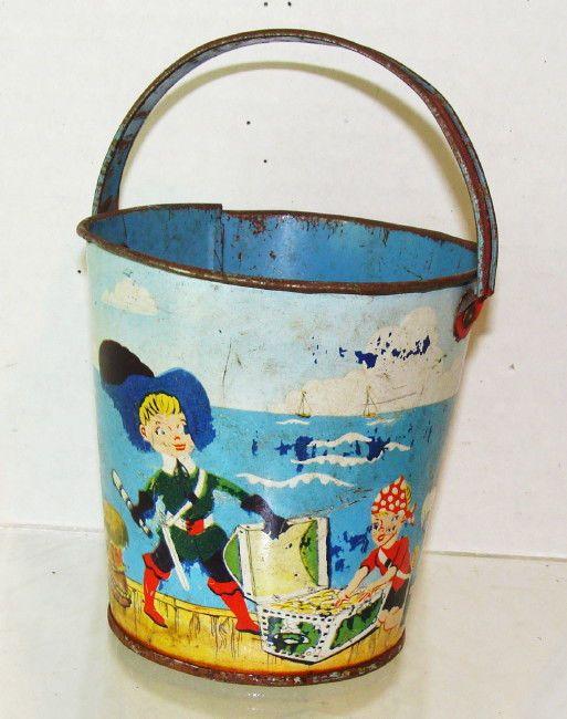 1940 S Pirates Treasure J Chein Child S Metal Sand Pail Beach Pail Sand Toys Vintage Tins