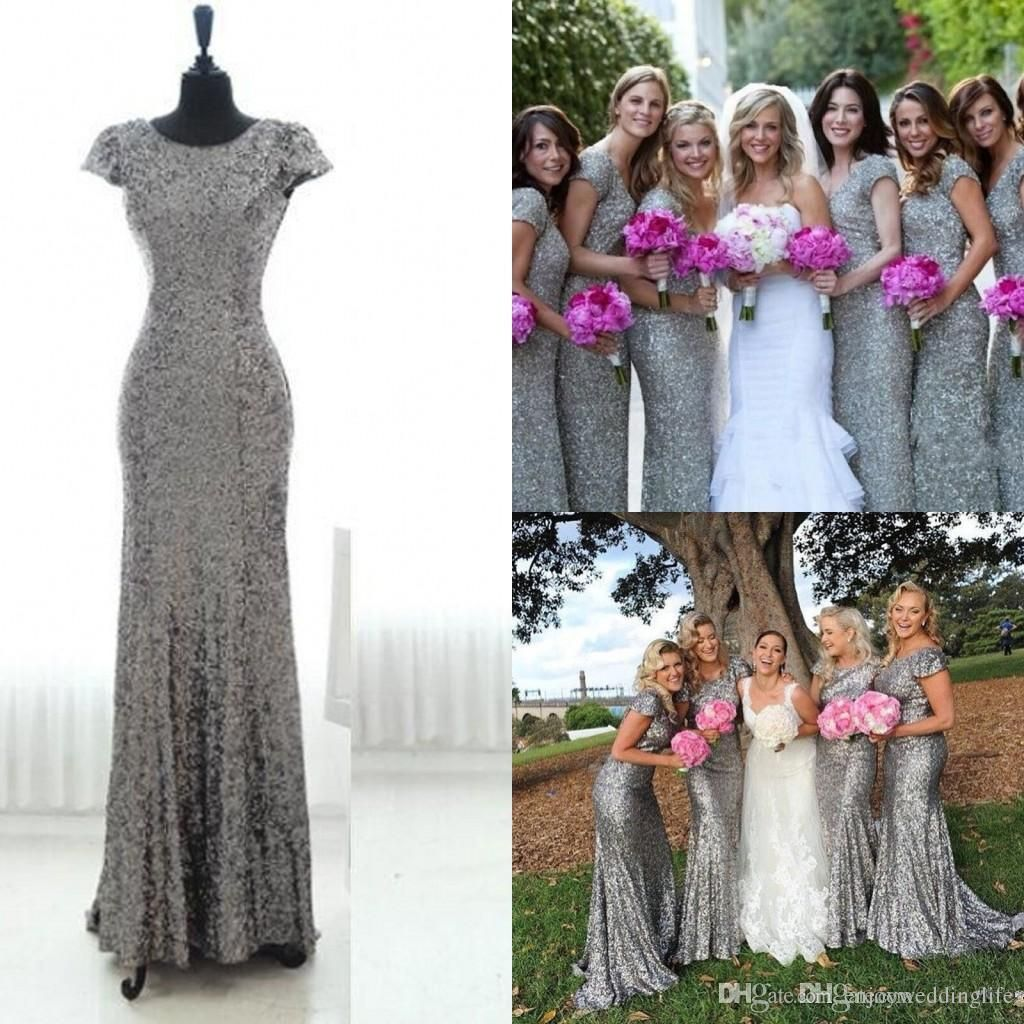 Silver grey sequins long bridesmaid dress 2016 sparkly cap for Sparkly wedding dresses with sleeves