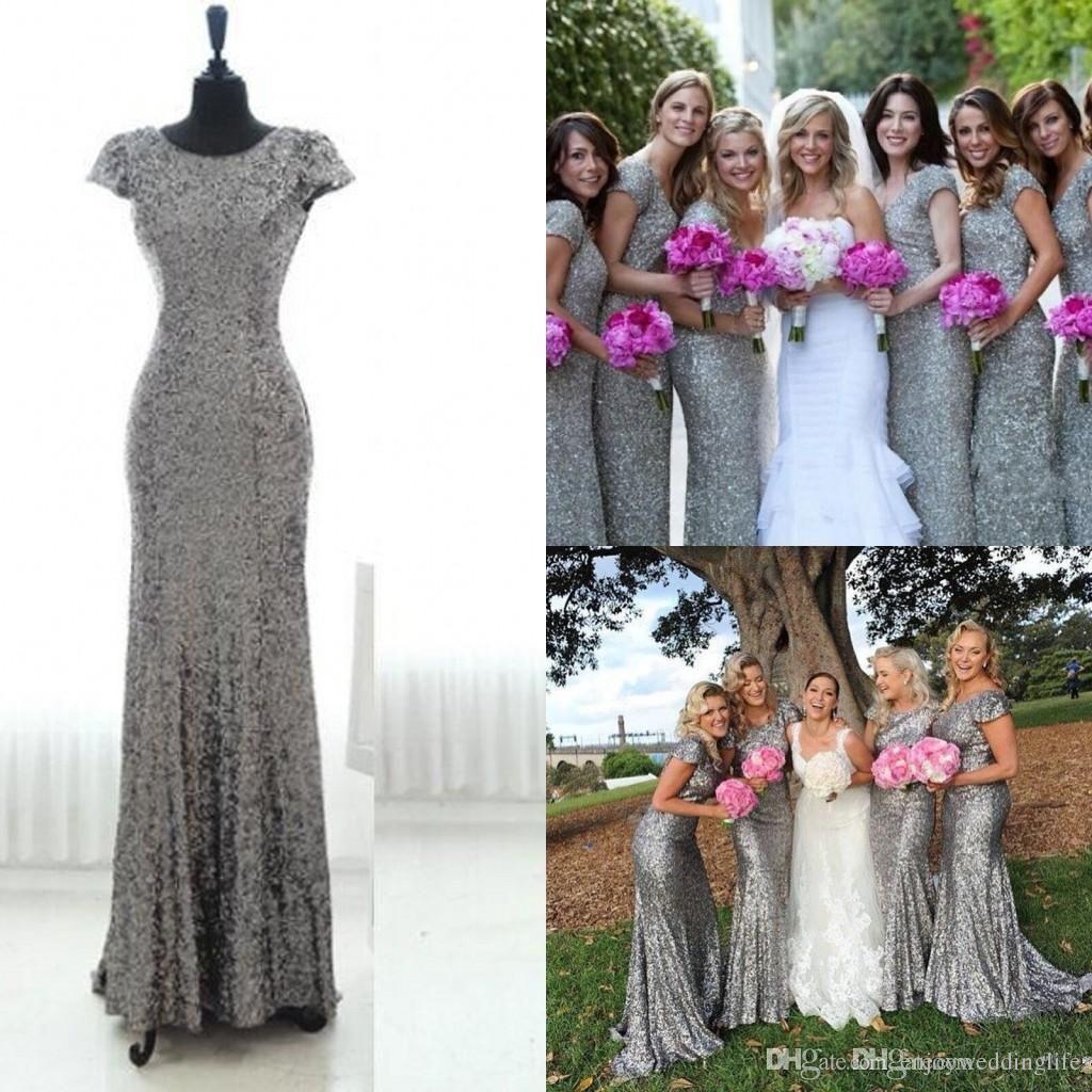 Silver grey sequins long bridesmaid dress sparkly cap sleeves
