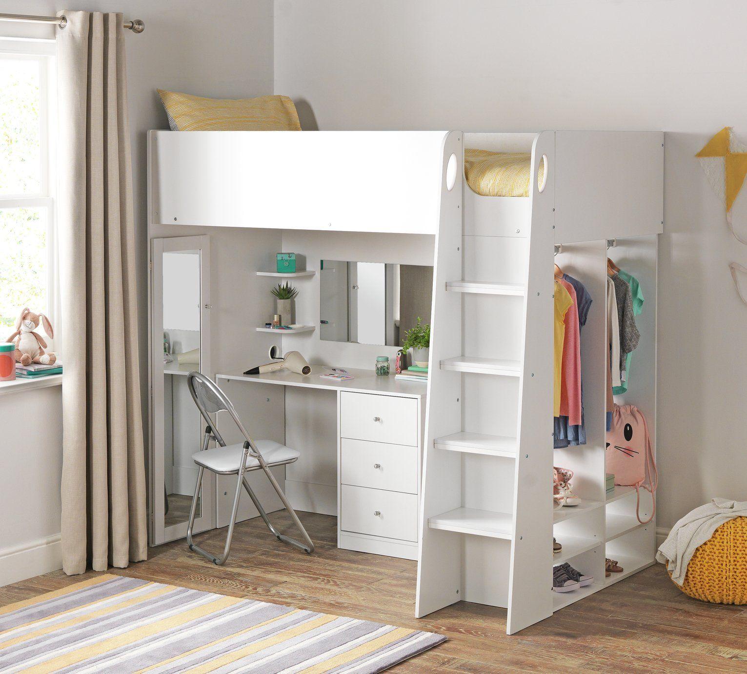 Buy Argos Home Glam High Sleeper Bed Frame White Kids Beds In