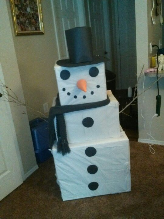snowman made of boxes and construction paper