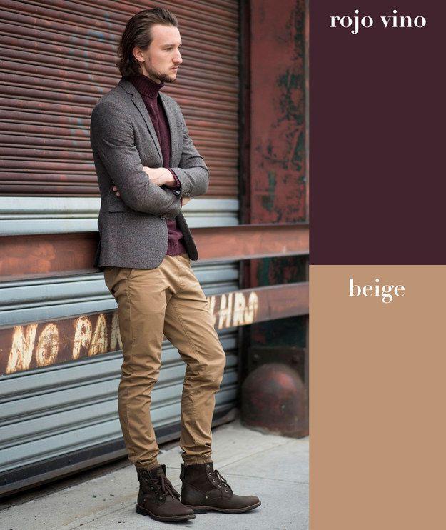 87e3c7c2b7d Rojo vino + beige | 17 Combinaciones de color que todo hombre puede usar