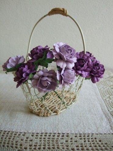 Purple Handmade Mulberry Paper Roses  by:-littlericefarmer
