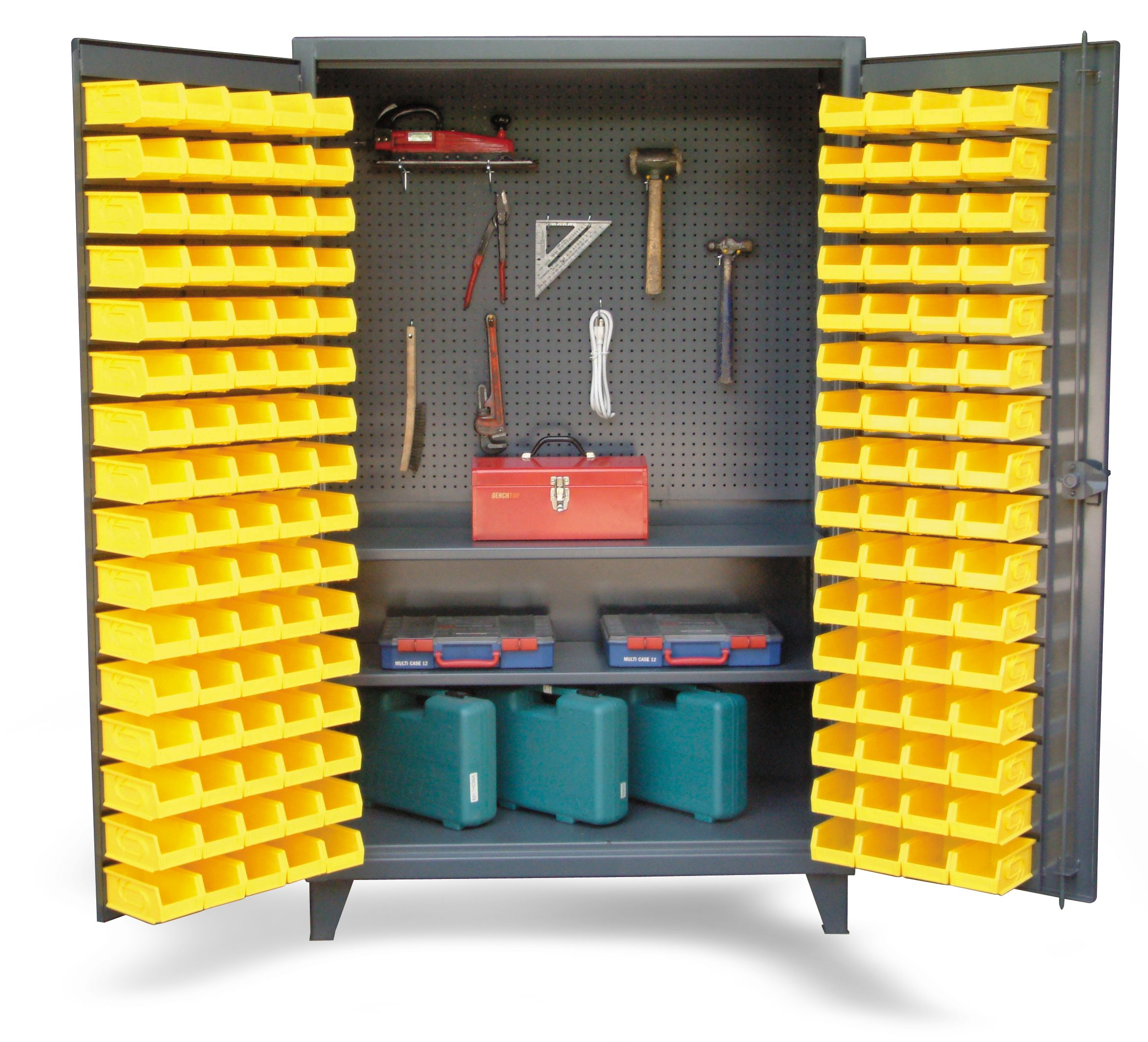 Upright Tool Storage Bin Cabinet   Bin Cabinet With Pegboard Back And  Shelves. Bins On