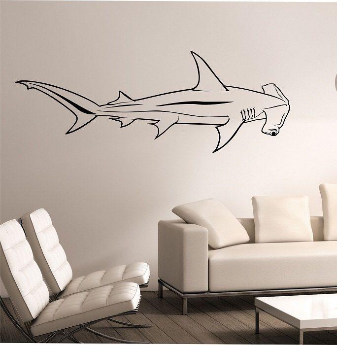 Hammerhead shark wall decal sticker art decor bedroom design mural interior design family home decor art