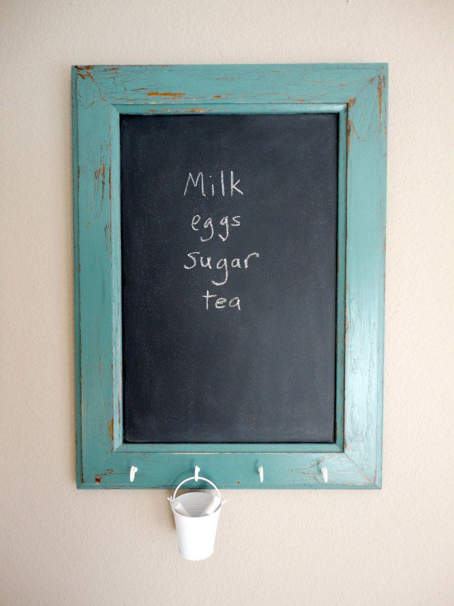 Turquoise cabinet door chalkboard with hooks | Pinterest | Turquoise ...