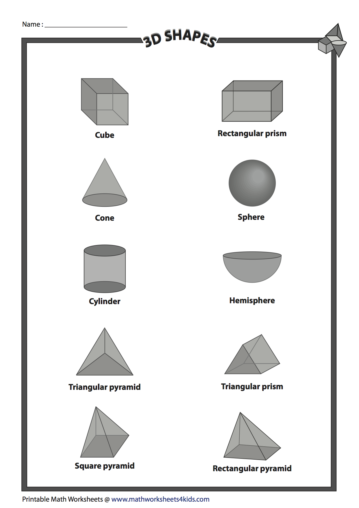 Use This Worksheet With The 2d And 3d Design Worksheet Printables Free Kids Math Worksheets 4 Kids 3d Printing Projects