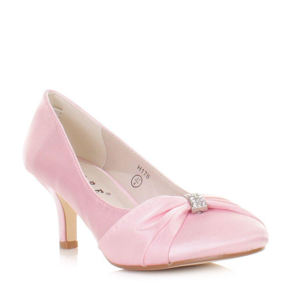 Womens Ladies Girls Baby Pink Kitten Heel Satin Wedding Bridal Shoes Uk Size Satin Wedding Shoes Pink Wedding Shoes Wedding Shoes