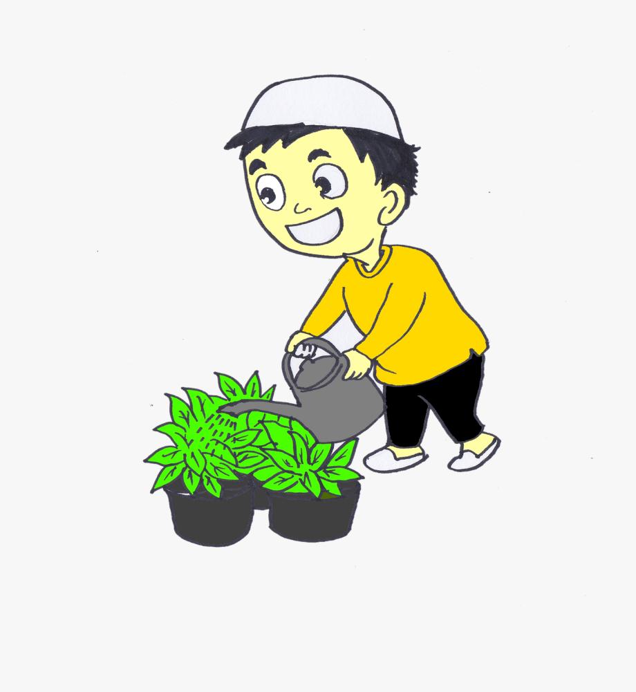 Gambar Kartun Menyiram Bunga