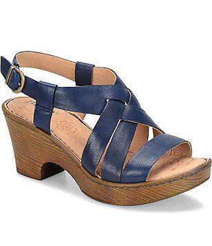 b208efacf69 Born Carmo Leather Criss Cross Sling Back Block Heel Sandals