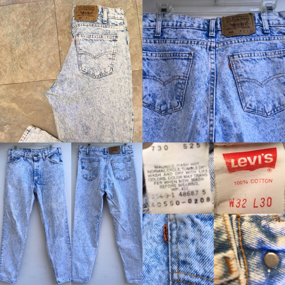 e3584a36 VTG Levi's 505 Acid Wash Jeans Made In USA Orange Tab 32 30 | eBay ...
