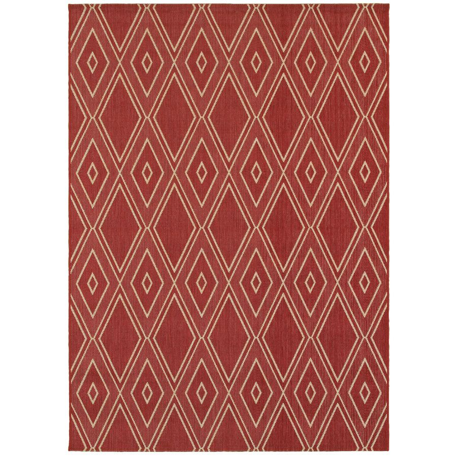 Shop Allen + Roth Hunsworth Tuscan Red/Sand Rectangular Indoor/Outdoor  Machine Made Southwestern Area Rug (Common: 5 X Actual