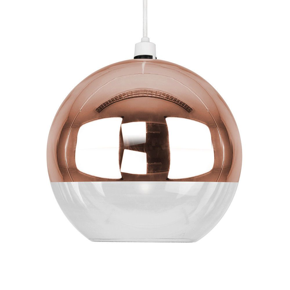 Mirror Copper Clear Glass Ball Ceiling Pendant Light Lamp Shade