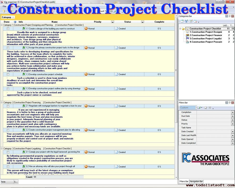Pc Associates Provides Checklist Of Construction Project Review