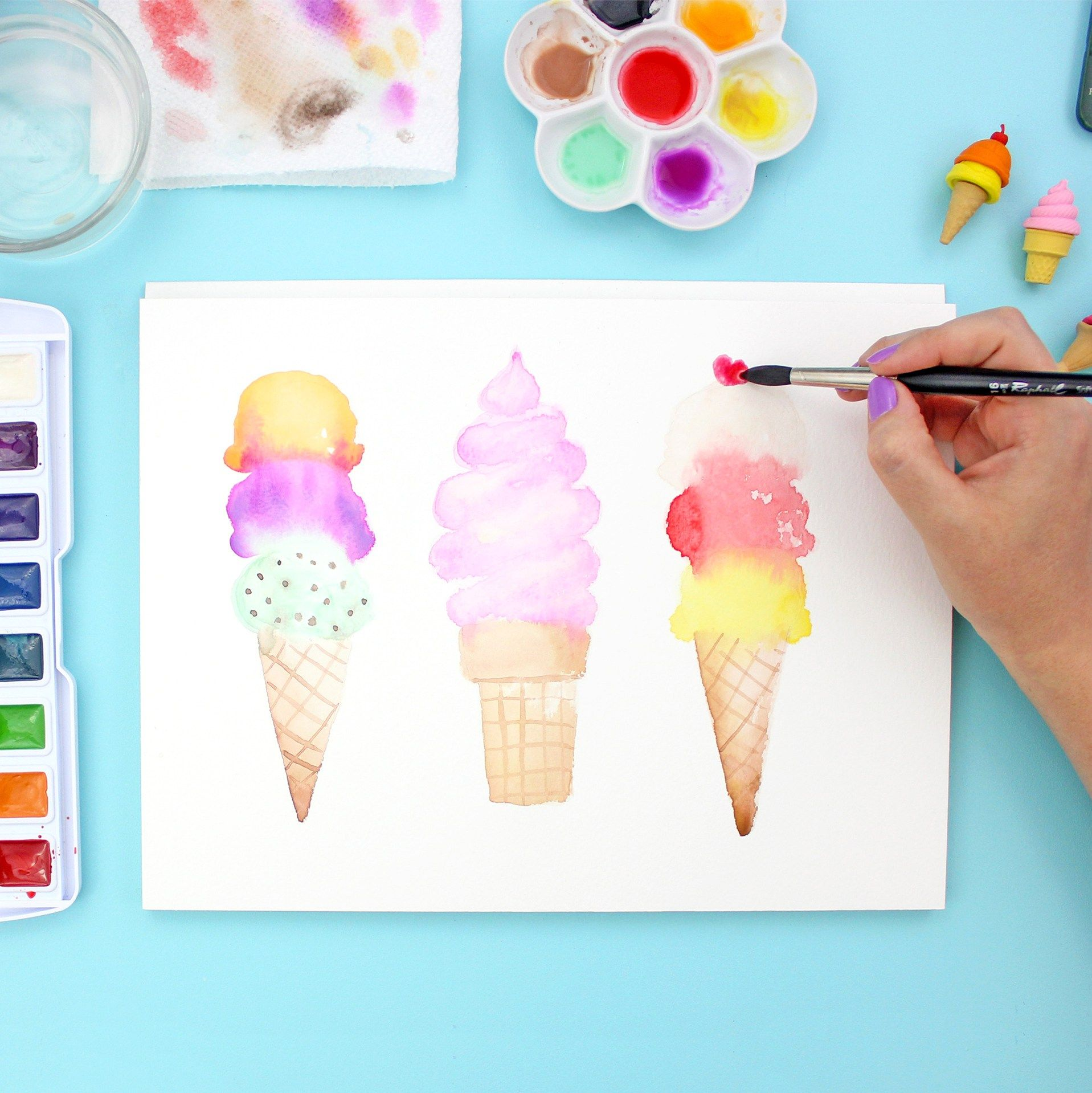 How to paint watercolor ice cream cones children 39 s for Watercolor tutorials step by step
