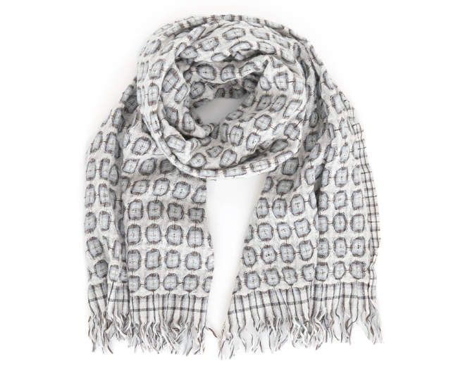 #PineConeHill Silver Fox Scarf. Try this graphic update of a classic pattern, rendered in a subtle two-tone, lightweight wool scarf. Going gray never looked so chic!